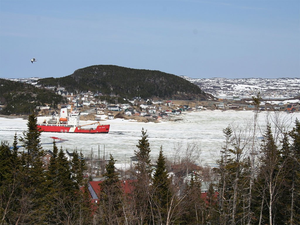 """Canadian Coast Guard Ice Breaker, """"Ann Harvey"""" arrived on May 6, 2009, to break up the ice in St. Anthony Harbour.."""